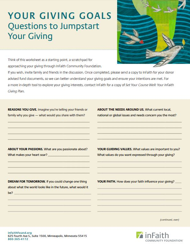 A picture of InFaith's Your Giving Goals Worksheet.
