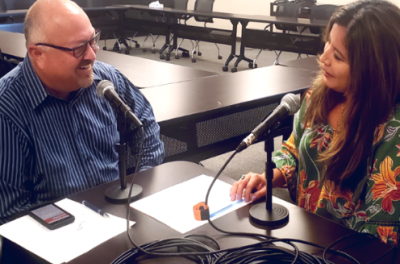 Image of employees from the Southern Caregivers Resource Center recording a podcast episode.